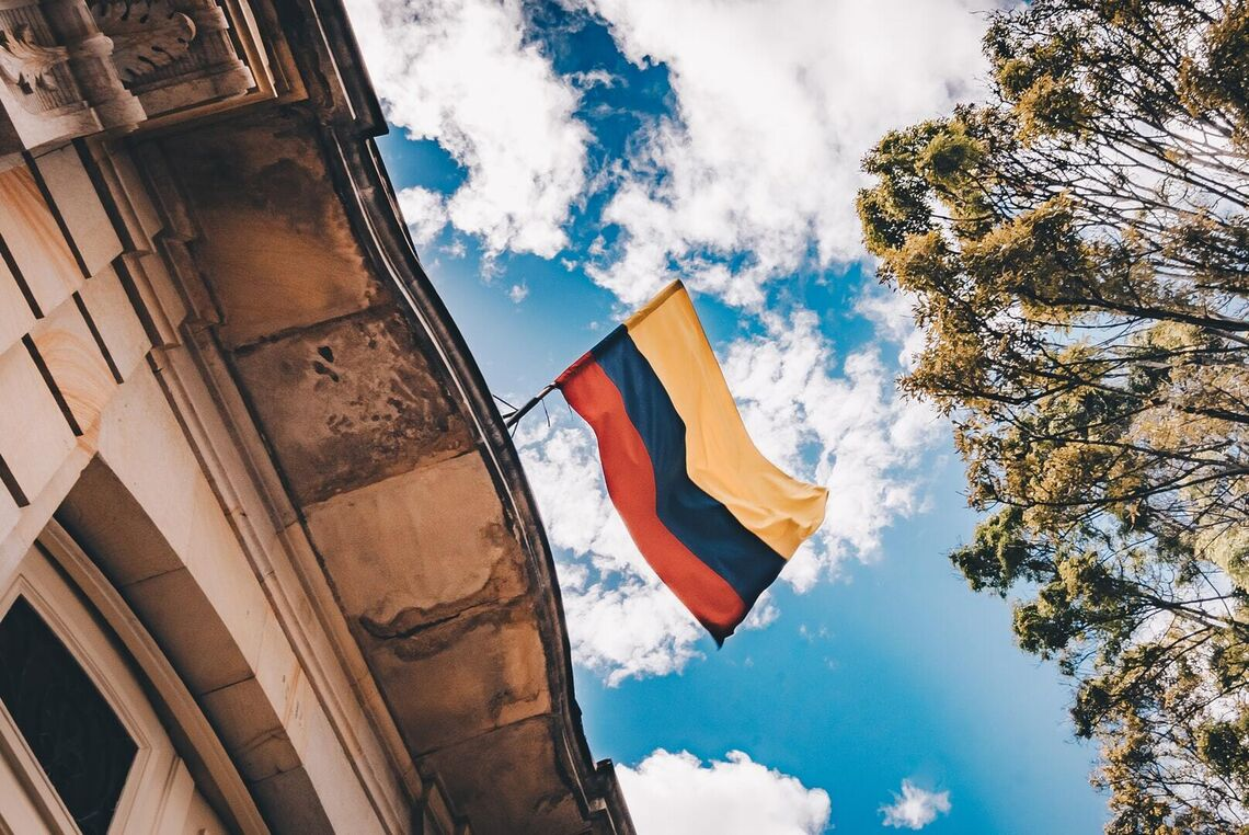 colombian flag on building